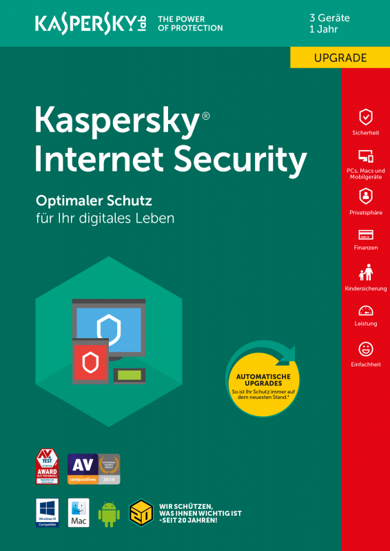 Kaspersky Internet Security Upgrade 3PC / 1 Jahr
